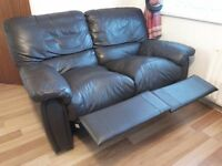 Reclining chair genuine leather 2 seater with free coffee table