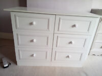 White chest of drawers made from melamine coated particle board