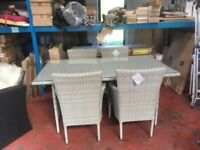 RATTAN GLASS TOP TABLE AND 4 CHAIRS