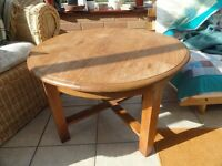 SMALL WOODEN ROUND COFFEE TABLE 69cms diameter 46 high upcycling