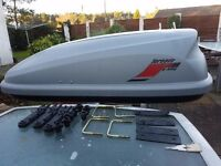 Car Roof Top Camping Box Tornado Jet Bag. 320 litre. Streamlined. Locking. Fits most roof bars.