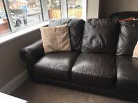 Handmade brown leather 3 seater sofa