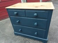 Lovely Old English pine chest of drawers Annie Sloan 'Aubusson' blue