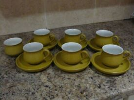 Denby Ode Vintage Retro Cups and Saucers