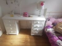 Solid wood dressing table with 6 drawers white