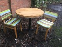 """Two Seater Oak Top Dining Table, 36"""" Diameter & Chairs"""