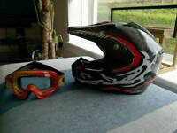 Helmet and goggles for off road bike good condition