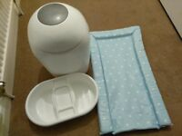 Sangenic nappy bin, changing mat &top & tail bowl