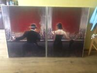 Two large wall framed pictures