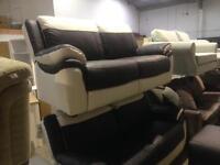 2 x 2 Seat 1 x. Footstool Real Leather Sofa Ex Display