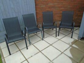 4 high back garden chairs Fair condition £8