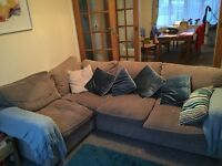 Corner sofa for sale. It's very comfortable and the grey colour matches a lot of colour schemes