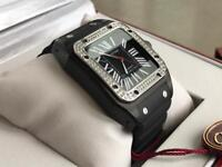 Cartier Santos Diamond Black - Swiss 7750 ETA - Rubber strap