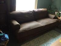 Large brown fabric IKEA sofa