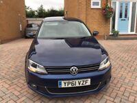 2011 (61), VW Jetta 1.6 TDI Sport BLUEMOTION, FSH, Blue, Parking sensors,