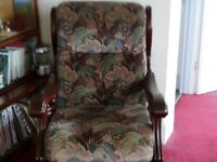 Two armchairs, cushions recently refilled.
