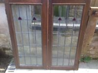 A pair of leaded glass panels