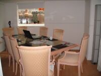 Dining Table & 7 Chairs, One Captains, with arms, Matching Coffee Table. REDUCED TO £70