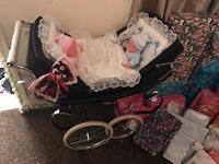 Silvercross coach built twin dolls pram with bedding