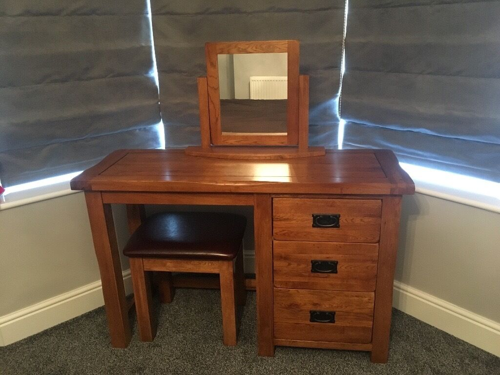 Oak Furniture Land Dressing Table Set Original Rusticin New Romney, KentGumtree - Oak Furniture Land Dressing Table, Original Rustic. Perfect condition, only owned for 3 months, selling due to house move. Currently in the Sale on the Oak Furniture Land website for £424. Price includes mirror and stool. Collection only from New...