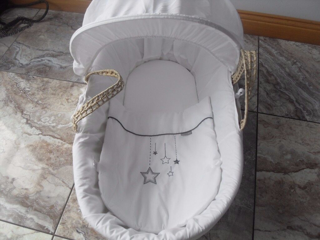 NEW WHITE MOSES BASKET .COST £35 BOUGHT FOR NANNY'S NEVER USED