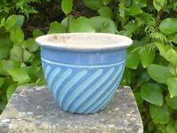 Unusual Blue & Light Blue Swirl Pattern Ceramic Planter Garden Pot 13cm Tall
