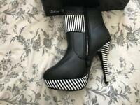 Black & White Striped Detail ankle boots