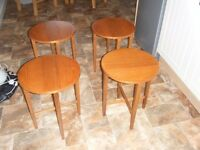 SET OF FOUR RETRO FOLDING COFFEE TABLES