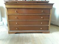 Dresser with drawers glass display cabinet