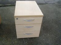 BEECH WOODEN 3 DRAW PEDESTAL FILING CABINET GOOD CONDITION