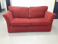 2 seater red fabric sofa bed settee in very good condition / free delivery
