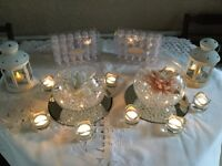 13 Glass Bowls with (Pearl Jelly and Flower) Wedding/Special Occasion Table Decoration