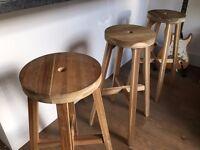 Three wood breakfast bar stools