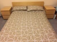 IKEA Malm king size bed, 2 x bedside drawers (beech)