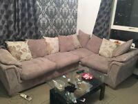 Beige fabric corner sofa