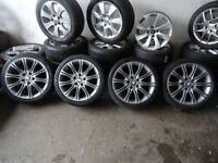 "SET OF NEWLY REFURBD STEEL GREY 18"" BMW MV2 ORIGINALL ALLOYS STAGGERED NEW TYRES ALL ROUND £400ono"