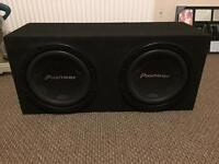 Pioneer twin 12inch sub with box and amp