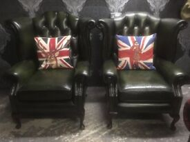 Stunning Pair of Chesterfield Queen Anne Wing Back Chairs Green Leather - UK Delivery