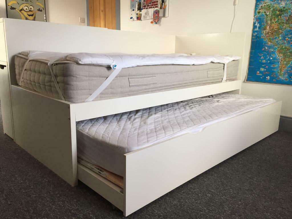 Ikea white single bed plus pullout bed plus bookcase   in ...