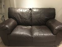 2 Seater sofa, brown leather