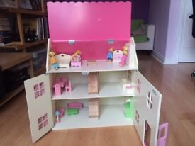 Wooden Dolls House with Figures & Furniture. VGC. Originally Asda.