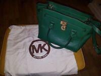 Genuine Michael Kors Medium Green Hamilton Leather Bag ...
