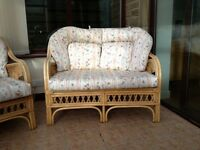 Conservatory cane settee and chairs