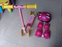 Foldable Scooter with helmet and pads girls 2-5 year old