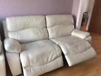Light cream electric recliner sofa suite