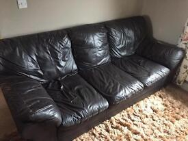 X2 Three seater brown leather couches