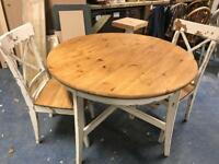 Lovely shabby chic round table and 2 chairs