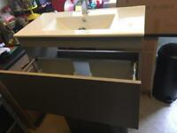 Wall hung pebble vanity unit with draw and basin, pop up waste and tap bargain