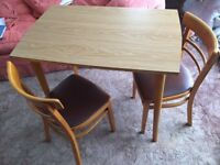 Small kitchen table/or suitable as desk + four chairs