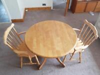 Small drop leaf table and 2 chairs